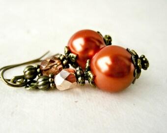 Copper Pearl Earrings. Terracotta Jewelry. Handmade Beaded Earrings for Rustic Elegance Wedding. Victorian Drop Earrings w Antique Bronze.