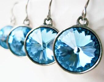 Aquamarine Earrings, Aqua Blue Swarovski Crystal Drop Earrings in Antique Silver Setting, March Birthstone Jewelry, 12mm Rivoli Earrings