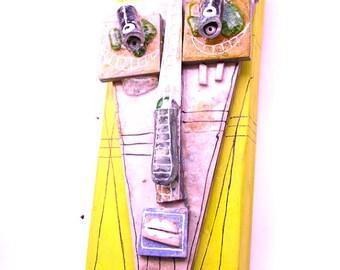 3D wall art,Ceramic Face, Mixed Media wall mask, Original mask,  Abstract Ceramic by 99heads