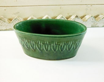 Green Oval Pottery Planter Made in USA