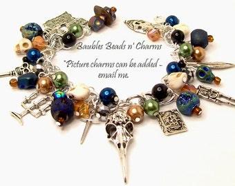 Louisiana Voodoo Charm Bracelet Jewelry, Skull Charm Bracelet Jewelry, Marie Laveau, Beaded Charm Bracelet