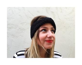 KNIT TURBAN HEADBAND - Hand knit black turban headband , knitted earwarmer in black