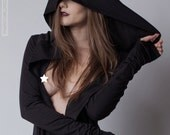 DARKNESS Organic Cotton Hooded Cardigan Cloak Glove Sleeves Pockets Tall & Plus Sizes