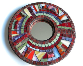 Stained Glass Mosaic Mirror, Home Decor, Engagement Gift, Wedding Gift, Bathroom Mirror, Abstract Mosaic Mirror, Cabin Decor, Rustic Decor