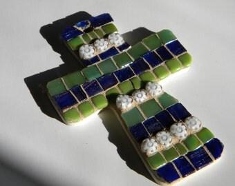 Navy Lime Mosaic Cross