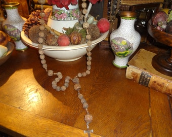 ITALIAN PRIEST large hand carved wood rosary