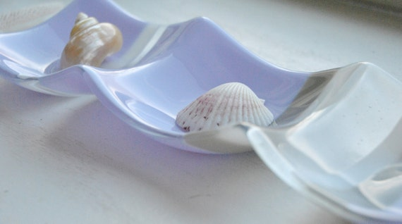 3-part sectional dish: 4x12 lavender/purple, grey and white opaque glass