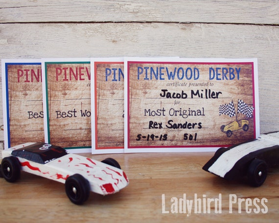 Printable Pinewood Derby Certificates Cub Scout by ...