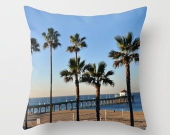 California beach and palms on a photo pillow cover