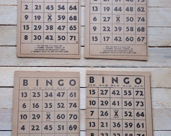 Vintage Bingo Cards Set of 4 Aged Patina
