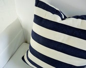 "17x17"" Navy and White Stripe Pillow Cover"