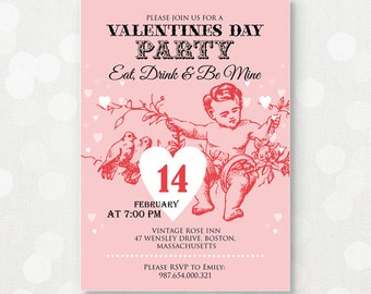 "Valentine Invitation Printable Party Invite - Pink Cupid Love DOWNLOAD - Valentine's Day EDITABLE DIY Template ""Eat Drink and Be Mine"""