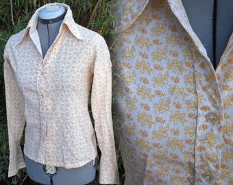 vintage 60s 70s womens Lucky Girl floral button up shirt hippie boho punk grunge prairie western