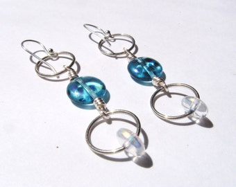Blue Dichroic Dots and Silver Hoop Earrings