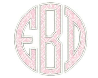 Circle Monogram Applique Embroidery Font - Instant Download