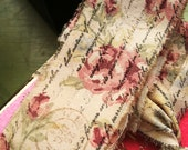 """Shabby Floral Tea Stained and Stamped Ribbon--Pink roses--1"""" wide. 2 strands, 36  inches each"""