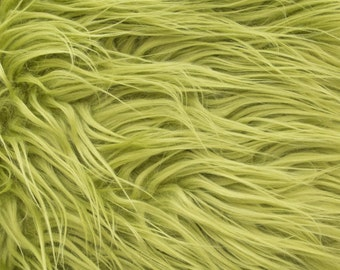 "Mongolian Faux Fur Fabric by the yard 58"" Olive -1 Yard"