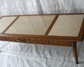 Mid Century Modern Coffee Table Bench with Portuguese Marble