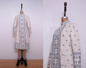 Vintage 70s coat | 1970s cream blue bohemian pattern jacket coat