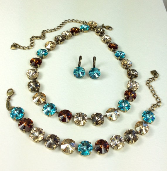 Swarovski Crystal 12MM Necklace / Bracelet -  Designer Inspired - Brown, Biege, Tan, With Turquoise  Accents -  Stunning-  FREE SHIPPING
