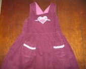 Vintage handmade corduroy girl's jumper, childs jumper, rick rack handmade, country chic, size 8, size 10