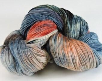 Yarn Hand Dyed Kona Superwash Wool Blue Gray Orange Rust 2394