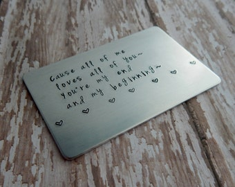 Choose Your Own Words Hand Stamped Metal Wallet Card / Anniversary Gift / Valentine's Day Gift / Stamped Wallet Card / 10 Year Anniversary