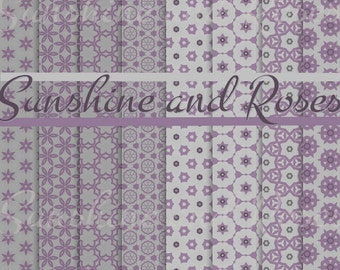 Purple Pattern 12 x12 Backgrounds For Scrapbooking and Crafts, Digital Download, Scrapbook Papers