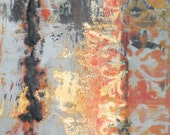 """Oil and cold wax painting titled """"Grey and Orange"""" on cradle board by Sarah Ettinger"""