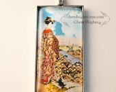 Necklace Geisha w/ Kitty Cherry Blossoms Picture Ribbon Pendant Art Kimono Miniature Art Handcrafted Wearable Art Unique Whimsical Jewelry