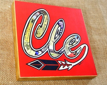 CLEVELAND INDIANS CLE Vintage Feather - 8x8 Handmade Wood Print