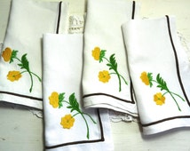 Vintage French LINEN NAPKINS, Yellow Flower Embroidery, Brown Edge, Set of 4 White Linen Napkins.