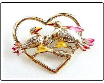 Lovebirds Heart Brooch - Enamel Birds w Rhinestones  Pin-1118a-012312000