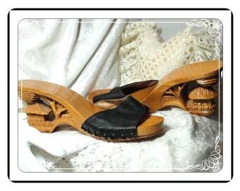 Pagoda Wedge Heels - Vintage  Black Shoes - Carved Asian Design - SH-009a-041913000