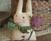 Basil Primitive Bunny Doll/Shelf Sitter With Tulip Spring Decor