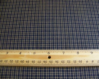 1 Yard Primitive Cotton Homespun Blue With White Small Checked Fabric