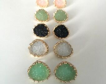 Princess Druzy Stud Earrings // Druzy Studs // Bridesmaid Earrings