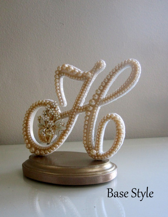 """Wedding Cake Topper """"READY TO PURCHASE"""" Letter H Vintage Pearl & Flower Brooch for Rustic, Country Chic, Woodland, Summer or Beach Wedding"""