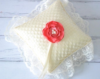 Ivory ribbon ring pillow with coral satin rose, ivory satin ring ties, faux pearls, ivory lace trim - made to order to your wedding colors