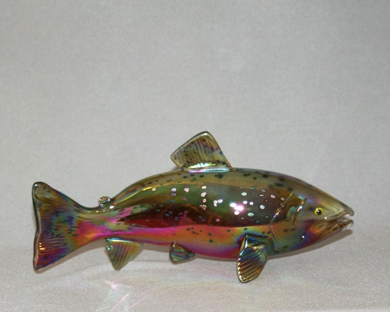Hand blown glass fish chinook salmon sculpture for Blown glass fish