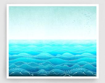 Through all ages (landscape) - Art Illustration Print Poster Home decor Nature prints Kids wall art Love Turquoise sea prints Ocean prints