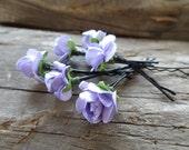 Lilac Rose Wedding Hair Pins,  Bridal Hair Pins, Hair Accessories, Beach Weddings Hair Pins, Bridesmaid Hair, Woodland - Set of 6