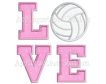 LOVE Volleyball Applique Machine Embroidery Design Pattern sports INSTANT DOWNLOAD