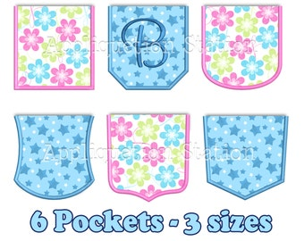 ITH Real Pocket Applique 6 Styles Machine Embroidery Design not faux pockets INSTANT DOWNLOAD