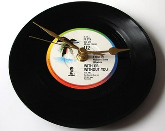 """U2 Vinyl Record CLOCK """" Desire"""" or """" With Or Without You """" or """"I Still Haven't Found What I'm Looking For"""" , a recycled 7"""" single great gift"""