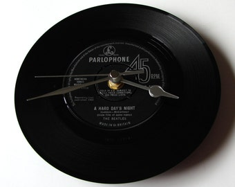 "The BEATLES Vinyl Record CLOCK, ""Hard Day's Night"", made from a recycled 7"" record, Other Beatles songs also available...."