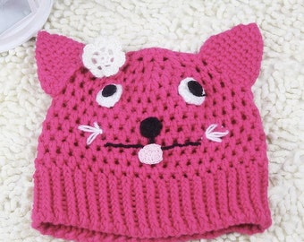 Cat Hat with Flower-Crocheted Handmade