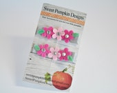 Girls Infant Toddler Baby Hair Clips - 2 Pinks on Grey Farbenmix Flower Clips - Hair Buckle -Tiny Flower Everyday Clips - FM1405