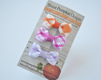 Girls Infant Toddler Baby Itty Bitty Clips - Pink Purple Orange Argyle Bows - Hair Buckle - Tiny Little Cute Bows - Barrettes - HC1208