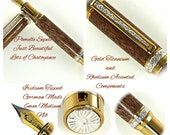 Custom Wooden Pen Rollerball Pen Beautiful Pomelle Sepele Gold Titanium and Rhodium Hardware 782FPD